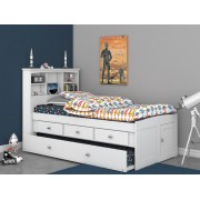 White Captains Twin Bed with 3-Drawers and Trundle