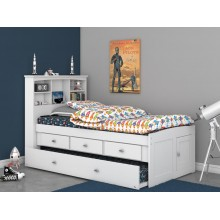 White Captains Twin Bed with 3-Drawers and Trundle Save $130