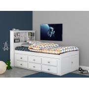 White Captains Twin Bed with 12-Drawers