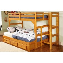 Honey Twin-Full Ranch Step Bunk Bed