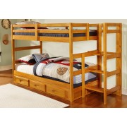 Honey Twin-Twin Ranch Step Bunk Bed