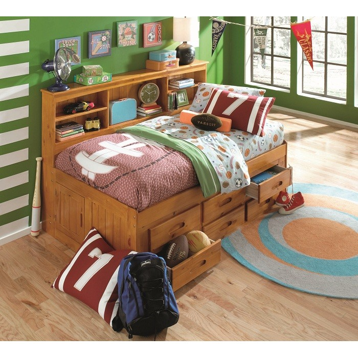 Honey Twin Bookcase Daybed With 6 Drawers