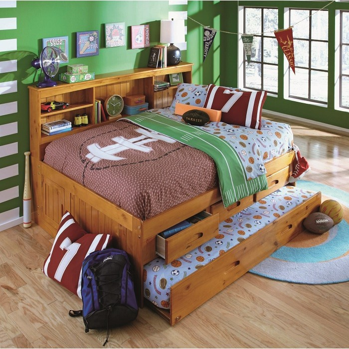 Honey Twin Bookcase Daybed With 3 Drawers And Trundle