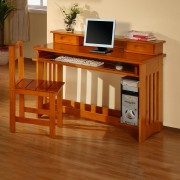 Honey Student Desk with Hutch