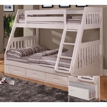 White Twin-Full Mission Bunk Bed