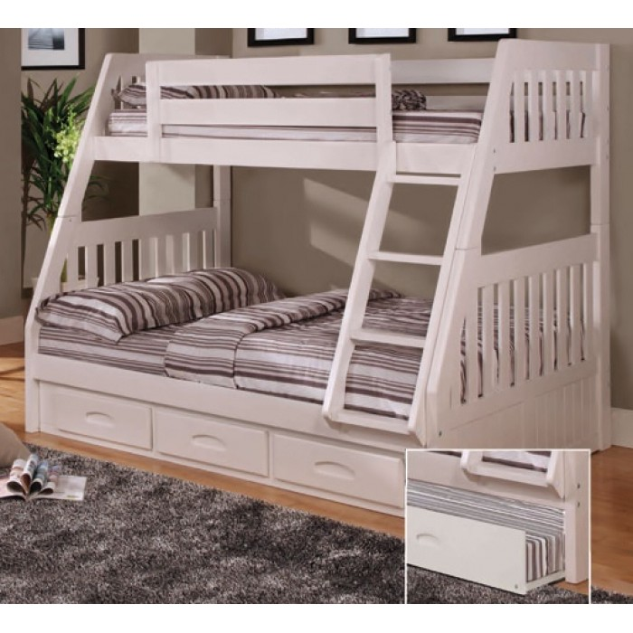 White Twin-Full Mission Bunk Bed Save $70