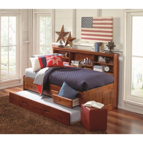 Merlot Twin Bookcase Daybed With 3 Drawers And Trundle