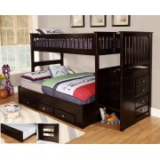 Espresso Twin-Full Mission Staircase Bunk Bed