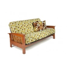 Full Arbor Wood-Metal Futon Sofa in Cherry