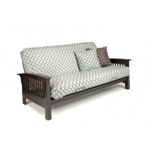 Full Arbor Wood-Metal Futon Sofa in Chocolate