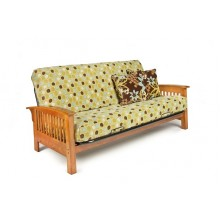 Full Arbor Wood-Metal Futon Sofa in Honey Oak