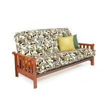 Full Boca Wood-Metal Futon Sofa in Cherry