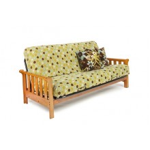 Full Boca Wood-Metal Futon Sofa in Honey Oak
