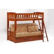 Cinnamon Twin-Futon Cherry Bunk Bed