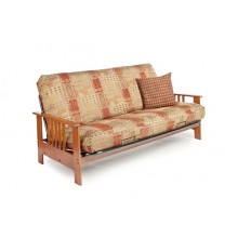 Full Dakota  Wood-Metal Futon Sofa in Cherry