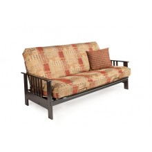 Full Dakota Wood-Metal Futon Sofa in Chocolate