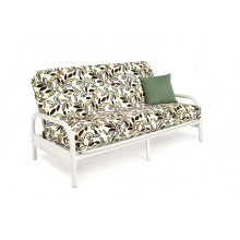 "Full White 38"" Metal Futon Sofa"