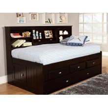 Espresso Twin Bookcase Daybed with 3-Drawers and Trundle