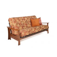 Full Kobe Wood-Metal Futon Sofa in Cherry