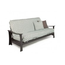 Full Kobe Wood-Metal Futon Sofa in Chocolate