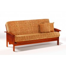 Full Ruskin Futon Sofa in Cherry