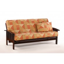 Queen Ruskin Futon Sofa in Chocolate