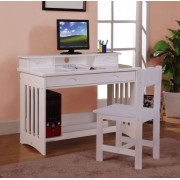 White Student Desk with Hutch