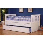 White Rake Bed with 3-Drawers and Trundle
