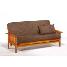 Queen Ruskin Futon Sofa in Honey Oak