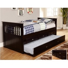 Espresso Rake Bed with 3-Drawers and Trundle