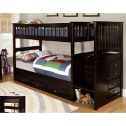 Espresso Twin-Twin Mission Staircase Bunk Bed