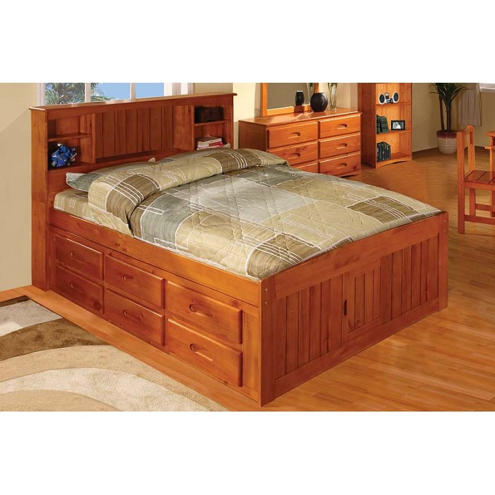 drawers bed with honey index full captains drawer