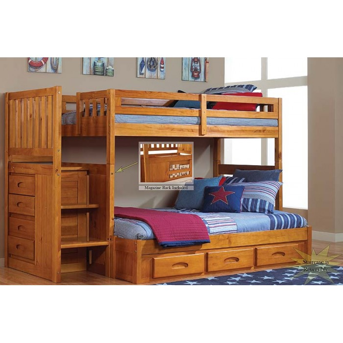 honey twinfull mission staircase bunk bed