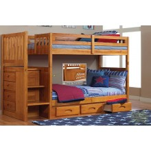 Honey Twin-Twin Mission Staircase Bunk Bed