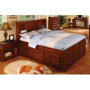 Merlot Captains Full Bed with 3-Drawers and Trundle
