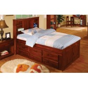 Merlot Captains Twin Bed with 12-Drawers