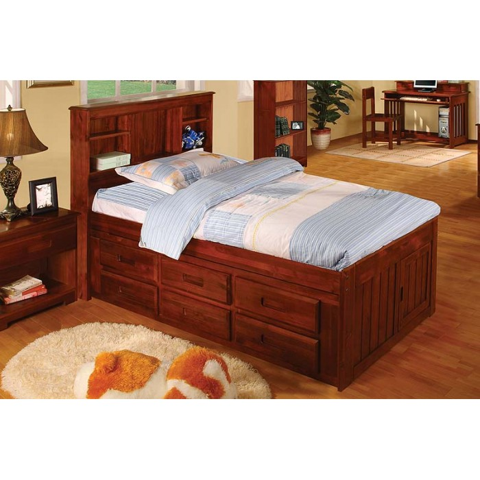 Merlot Captains Twin Bed With 12 Drawers