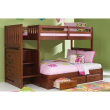 Merlot Twin-Full Staircase Bunk Bed