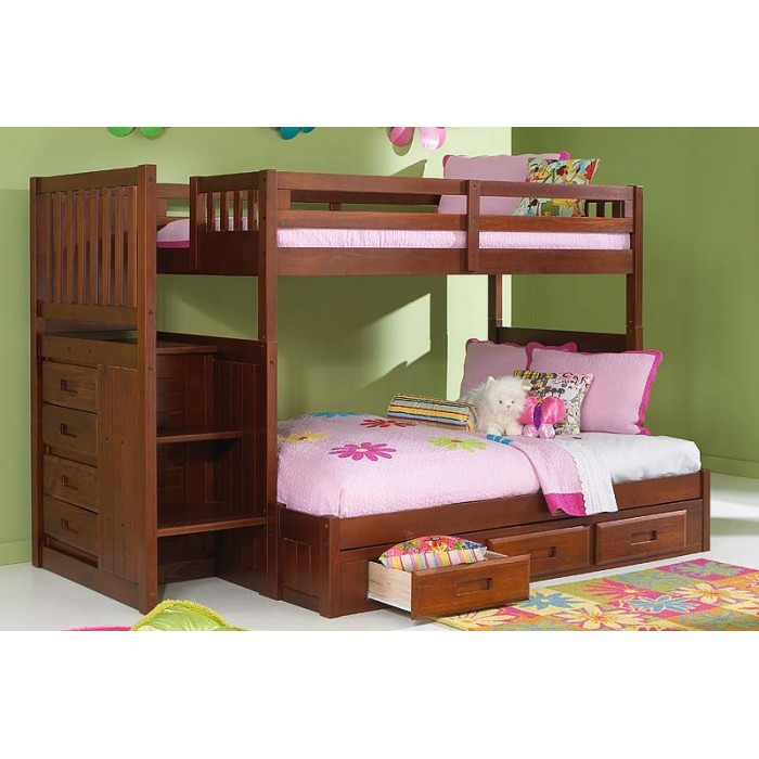 Merlot Twin Full Staircase Bunk Bed