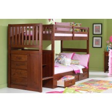 Merlot Twin-Twin Mission Staircase Bunk Bed
