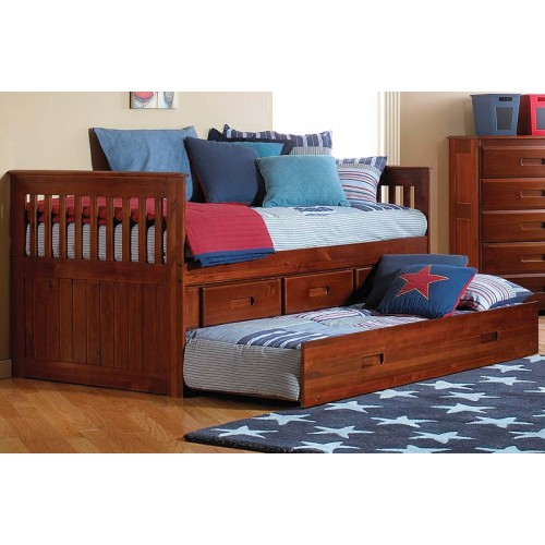 Merlot Rake Bed with 3-Drawers and Trundle