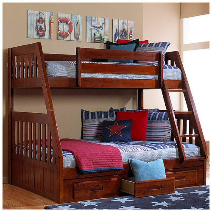 Merlot Twin Full Mission Bunk Bed