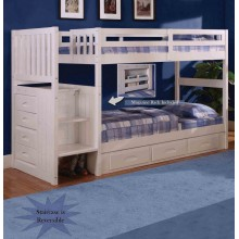 White Twin-Twin Mission Staircase Bunk Bed