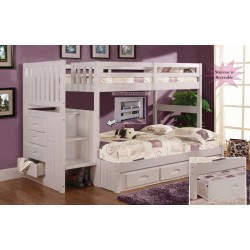 White Twin-Full Mission Staircase Bunk Bed Save $170