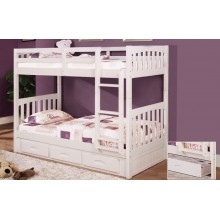 White Twin-Twin Mission Bunk Bed